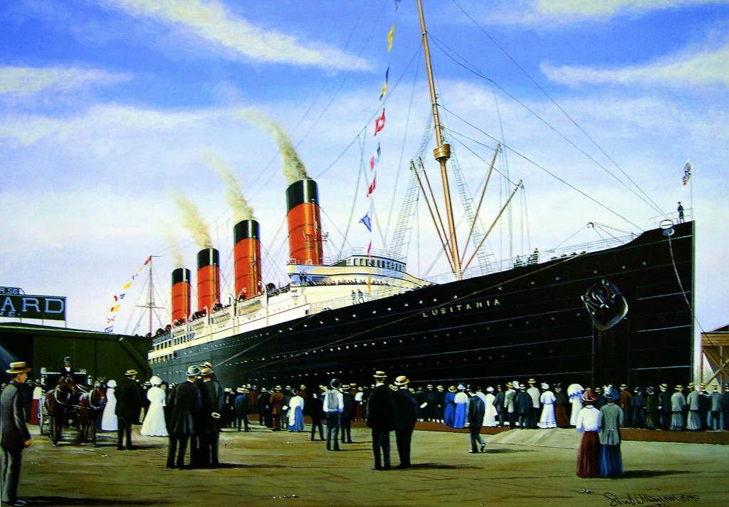 The Lusitania towers over New York's Pier 54 immediately after her maiden arrival. Copyright Stuart Williams 2011.