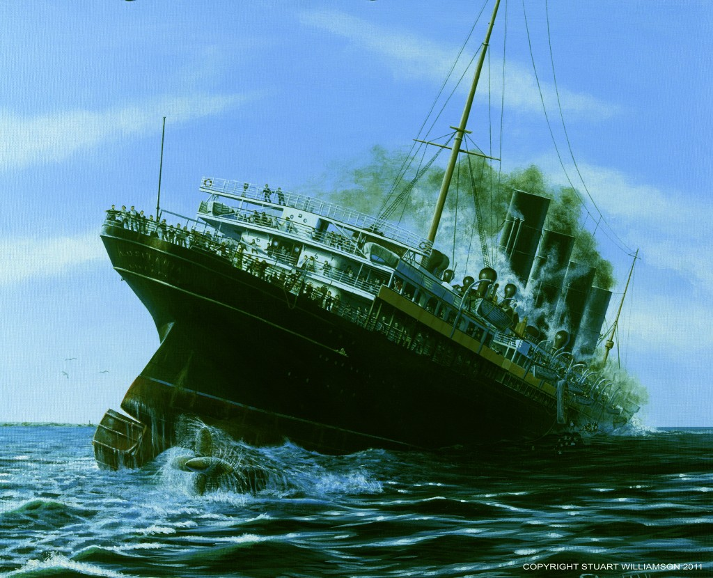 The stern of the Lusitania rises from the sea as her bow plunges beneath the waves. Copyright Stuart Williamson 2011.