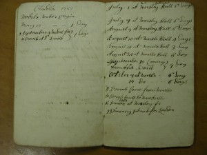 Brindley's record of visits to Worsley reproduced by courtesy of the Institutuion of Civil Engineers
