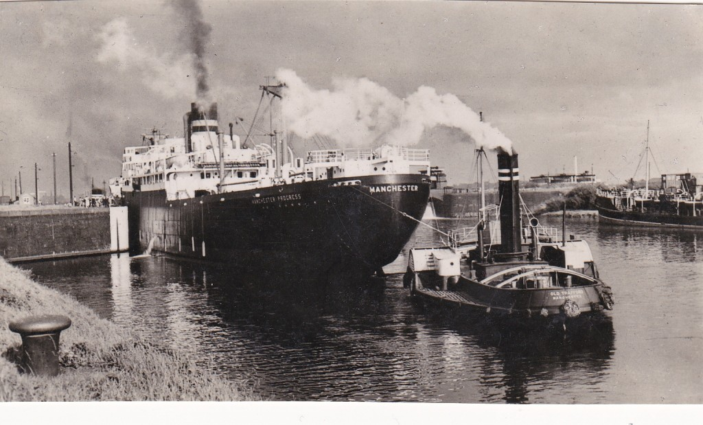 Manchester Ship Canal Through Time - SS Manchester Progress and Tug c 1938 Built 1938 by Blythswood Single screw turbine engine Coal fuel 13 Knots